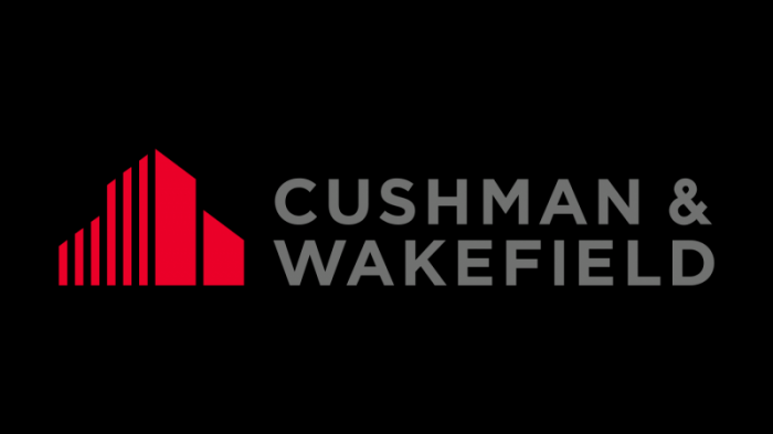 cushman wakefield logo, transparent, red, gray, symbol
