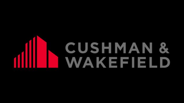 cushman wakefield logo, transparent, red, gray, symbol