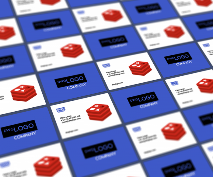 Blue and White Tiles Business Card Mockup