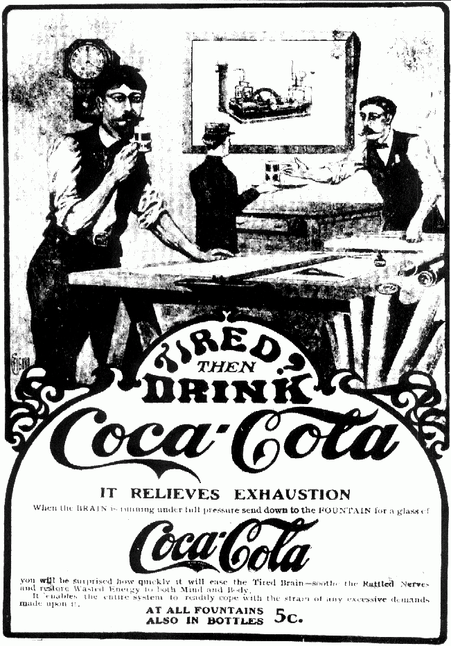 coca-cola poster it relieves exhaustion